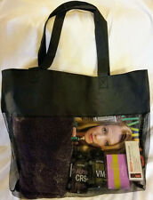 Black Mesh Open Top Tote Large Shopping Gym Bag Purse Sports Beach Travel Water