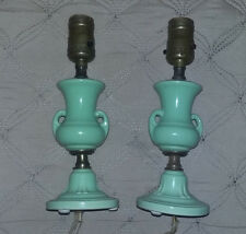 Antique Vintage Pair Of Green Vase Style Table Lamps
