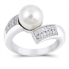 White CZ Freshwater Pearl Wave Twist Ring .925 Sterling Silver Band Sizes 5-10