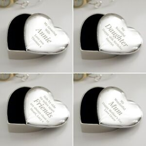 Personalised Any Message Heart Trinket Box Birthday Valentines Christmas Gift