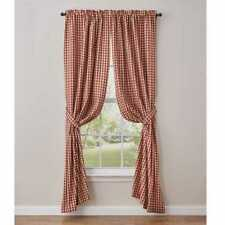 Farmhouse Country Crochet Gingham Lined Panel Curtains 72Wx84L Red Tan Check