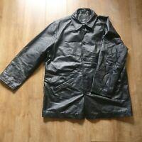 1860 Menswear black genuine real leather jacket coat size 3XL heavy pockets mens