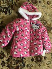 NWT Girls Hello Kitty Fleece Lined Faux Fur Hood $85 Puffer Jacket Coat SIZE: 4