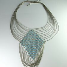 HUGE Turquoise Huge Sterling Silver Native American Bib Necklace Liquid Silver