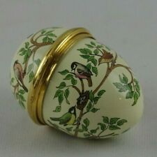 """Halcyon Days Enameled Egg Shaped Pill Box """" Birds on Branches"""" Rare"""