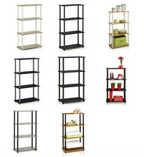 Modern 4 Tier Wooden Shelving Unit - Easy Assemble Free Standing Shelves