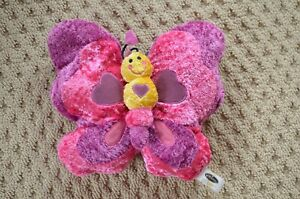 """Butterfly pillow speaker~corded~one size 11""""x11""""~pink and purple hearts"""