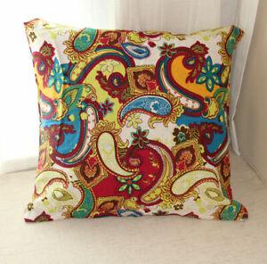 2 pcs Pillow Case Cushion Square Cover Cotton Linen Paisley Sofa Bedding Decor