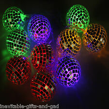 LED Disco Ball Mirror Finish String Lights Garden Party Decoration Set of 10
