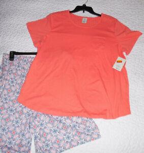 Croft & Barrow Women's Short Pant Pajama Set Cotton Blend 1X Pink Multicolor NWT