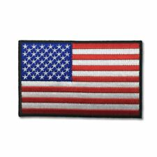 """Embroidered 5"""" American US Flag Black Border Sew or Iron on Patch Biker Patch"""