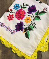 Vintage Cross Stitch Colorful Floral Small Tablecloth Crocheted Trim