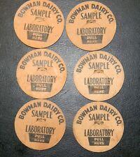 6 Bowman Dairy Co. Sample Laboratory Cardboard Milk Bottle Lids