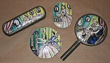 "Early Deco Enamel w/ Pewter Cotillion Painted  Dresser Set/""Crinoline Lady"""