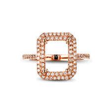 Hold 6x8mm Emerald Cut 14k Rose Gold Pave Halo Diamond Semi Mount Vintage Ring