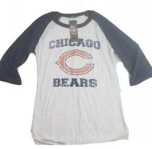 Chicago Bears Womens Tshirt Size Medium NFL Team Apparel Blue Raglan Burnout