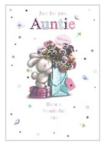 Birthday Card Auntie ~ Just For You ~ Bunny Surprise By Greetings ~ Free P&P