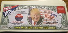 WHOLESALE LOT OF 100 DONALD TRUMP PRESIDENT MILLION DOLLAR BILLS FAKE USA MONEY