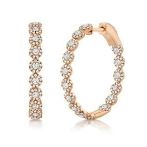 Inside Out Diamond Hoop Earring 14K Rose Gold Round Halo Cluster 1.58CT Natural