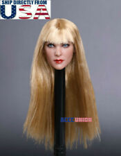 "1/6 Female Head Sculpt Long Blonde Hair G GC019 For 12"" PHICEN Hot Toys Figure"