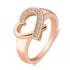 Women's Fashion Jewelry Rose Gold Heart Ring Size 6 Girlfriend Gift 54-11