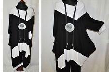 Layered Look oversize-tunika-shirt Jersey Carmen Collar Black White XL, 2XL,