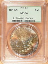 1881-S Morgan Silver Dollar, PCGS graded MS64, COLOR!!, Old Green Label