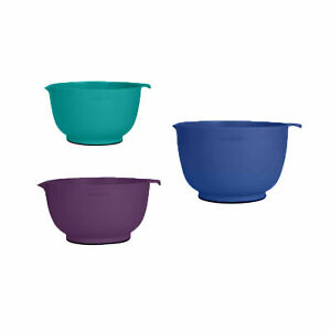 Farberware Professional Set of 3 Non-Slip Mixing Bowls Spout, Blue, Purple, Teal