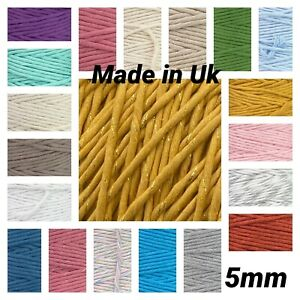 32 Colours 5mm Macrame Single Twisted Pipping Cotton Cord String Craft DIY