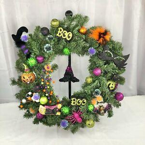 "Halloween 24"" Handmade Wreath Green Purple Black Witch Bat Boo Jack-o-Lantern"