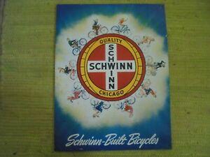 "Schwinn Built Bicycle SIGN 16x12"" Advertising Bike Chicago"