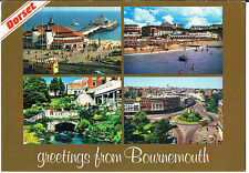 JOHN  HINDE MULTIVIEW POSTCARD GREETINGS FROM BOURNEMOUTH C1989
