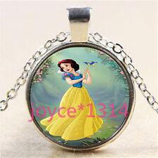 Vintage Snow White Cabochon Tibetan silver Glass Chain Pendant Necklace #3049