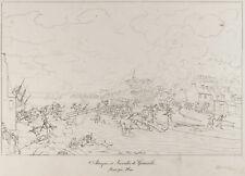 Gravure ancienne 1876 : Attaque et incendie de Granville. Guerre de Vendée