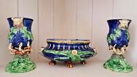 Antique 1890 French barbotine Majolica Planter set Vases Thomas Sergent school