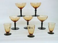 Elegant Two Tone Glass Amber and Black Stem Set of 8 Champagne Dessert Cups 498B
