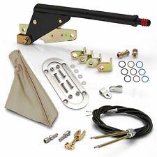 Floor Mnt Black E-Brake HandleTan Boot, Chr Ring, Cable Kit, GM Clevis muscle