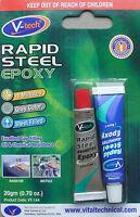 Rapid Steel Epoxy Adhesive Metal Glue, 4 Minute Setting, Grey, 20g By V-tech