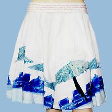 DESIGUAL Jupe FAL HAMACAS blanc impression bleu femme taille 40