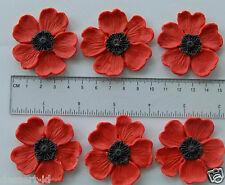12 RED POPPIES poppy sugarpaste edible cupcake topper 5 cm flower
