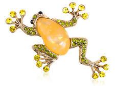 Lime Green Crystal Rhinestone Acrylic Gem Frog Toad Amphibian Costume Pin Brooch