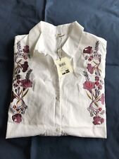 OVC Donna Women's Embroidered White Button Down Shirt Size Large