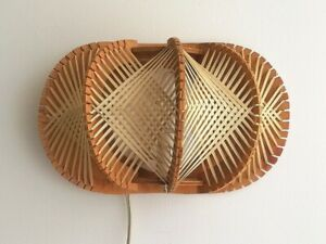 Mid century modern wood straw wooden wall sconce lamp light 1960s 60s France