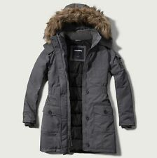 NWT Abercrombie Hollister Women Arctic Parka Hooded Winter Jacket Coat- Grey - M