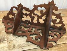 Antique Art Nouveau Corner Wall Shelf Swirls Cut Wood 1900s Two Tier Carved NICE