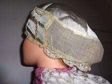RARE Vintage Ladies Victorian  Nightcap / hat satin and lace trim