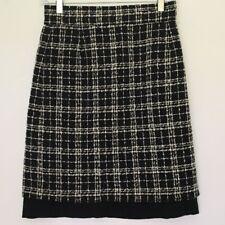 NWT Italian Designer piera bertolasi Black White Wool Blend Skirt Sz 42 US 8