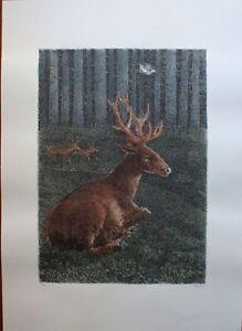 Enzo Bellini serigrafia colorata a mano il Cervo Malato 70x50 firmata Bora