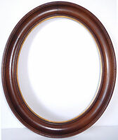 Antique Mahogany Picture Frame Oval Hand Carved Wood Gold Burnish Liner