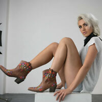 Brown Leather Western Cowboy Ankle Boots Women's Embroidered Floral Red Flower